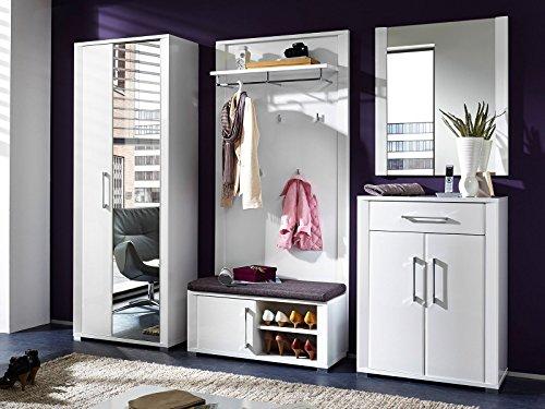 Garderobe Flurgarderobe komplett Garderobe Garderobenset Diele Möbel Davenport I (Weiß-Hochglanz)