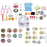 SouiWuzi La joyería Que Hace Fuentes Pendiente DIY Kit Set con Cuentas Alicates rebordeando el Alambre de la Pulsera del Collar Pendientes 2035PCS, para la operación Manual