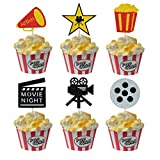 Movie Night Cupcake Toppers Decoration, Glitter Hollywood Cupcake Toppers, Hollywood Movie Theater Themed Cupcake Toppers for Baby Shower Birthday Party Cake Dessert Decor (Pack of 24)