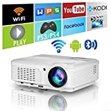 Wireless Bluetooth Projector Android WiFi 4400lm HD LED LCD Smart Video Proyector Support 1080P Airplay HDMI USB RCA VGA AV for Home Theater TV Outdoor Movie Smartphone DVD Game Consoles Laptops