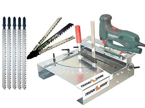 Neu Stichsägetisch Trenn-Biber 012L Bundle-3 + Sägeblätter von Metabo Bosch Festool +5 lange T-Schaft Stichsägeblätter für Stichsägen - Sägetisch, zum Laminat schneiden