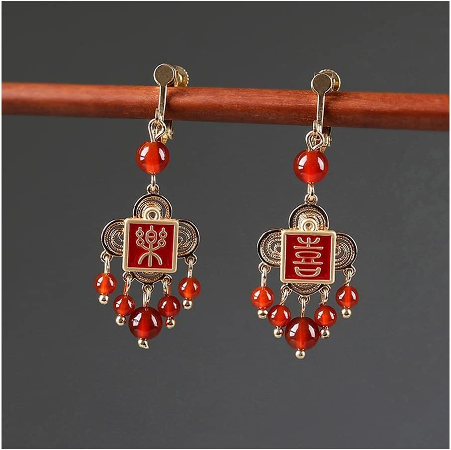 Dangle Earrings Chinese Vintage Style for Women, National Style Red Drop Earrings with Beads 2021, for Bride/Friends/Mother/Girls (Color : Clip-on Earring Gold)