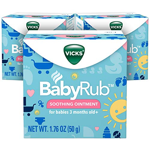 Vicks BabyRub Chest Rub Ointment, 1.76 oz (3 Pack) - Soothing Aloe, Eucalyptus, Lavender, and Rosemary, from the makers of VapoRub