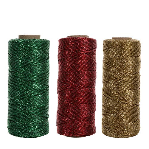EXCEART 3pcs Metallic Elastic Cords Stretch Cord Ribbon Metallic Tinsel Rope Christmas DIY Arts Crafts String for Wedding Crafts Making Gift Wrapping(Mixed Color,100m)