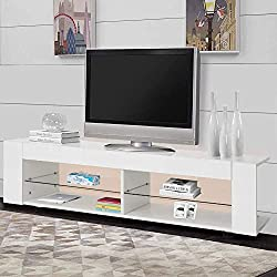 Greensen White LED TV Stand, High Gloss Finish