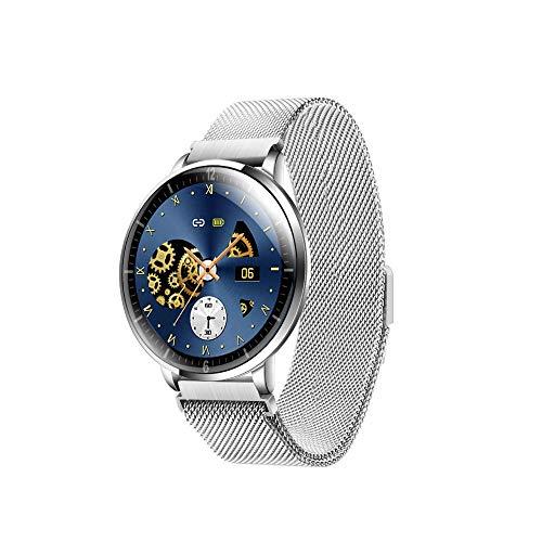 Reloj Inteligente Mujer Hombre,Monitorización sueño, frecuencia cardíaca presión arterial,pulsera inteligente multifunción prueba agua, gris plateado,Pulsera de Actividad Inteligente Reloj Deportivo