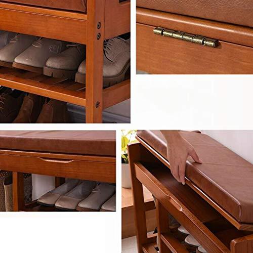 ECSD Schuhregal 2 Tier Massivholz-Schuh Bench Organizer, Gepolsterter Schuhbank-Fußschemel Mit Ablagefach Oben (Farbe : Honey Color, größe : Large)
