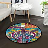 ALAZA Peace Sign Music Notes Guitar Flower Vintage Round Area Rug for Living Room Bedroom 3' Diameter(92 cm)