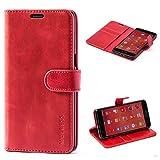 Mulbess Handyhülle für OnePlus 3T Hülle, Leder Flip Case Schutzhülle für OnePlus 3T / 3 Tasche, Wein Rot