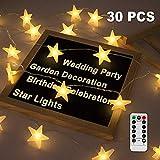Led Lichterkette Sterne, Nasharia Lichterketten 8 Modi 30er Sterne 5M Länge LED Lichterkette mit...