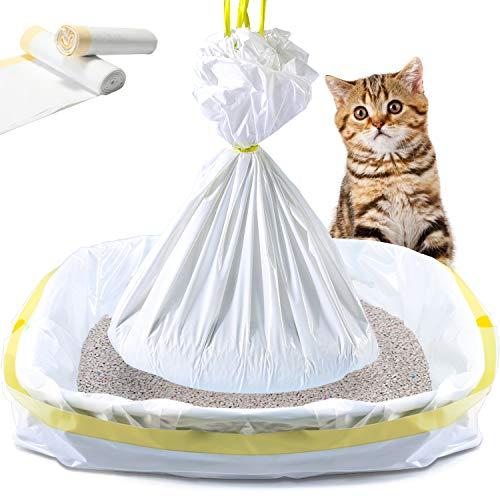 KONE Cat Litter Box Liners, 14 Count Jumbo Extra Durable Large Drawstring Kitty Litter Pan Bags Cat Waste Litter Bags Pet Cat Supplies (36' x 18')