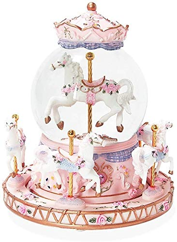 ccfgh Crystal Ball Music Box Carousel Music Box Girl Gift Automatic Snowflake Romantic Rotation Colorful Lights happy Birthday (Color : Castle in the Sky)