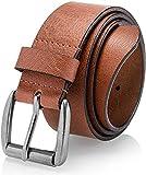 Men's Casual Jean Belt Soft Top Grain Leather Roller Buckle 38MM Tan Size 38