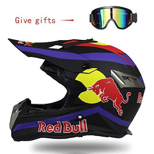 Cascos De Motocross,Cascos Modulares Casco Moto ABS CertificacióN Dot MúLtiples Orificios De VentilacióN Forma Fresca Bloqueo RáPido Forro ExtraíBle Enviar Gafas Off-Road Red Bull