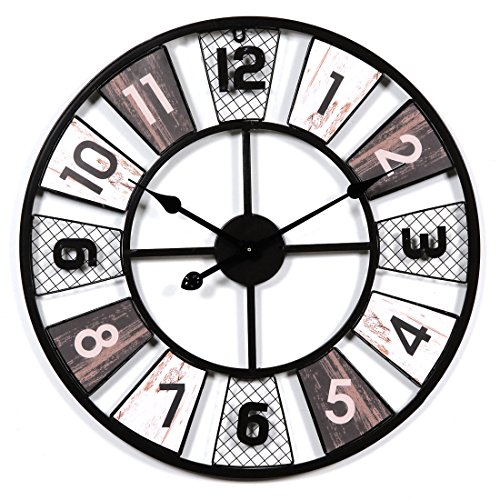 MRKE 60CM XXXL Grande Metal Vintage Reloj Pared Silencioso Retro Design Reloje de Pared para Cocina/Salón/Dormitorio/Baño/Oficina