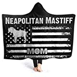 Mastín napolitano Mamá Bandera de América Manta con Capucha Niños Adultos Sherpa Fleece Blanket for Couch Bed Sofa Travelling Camping
