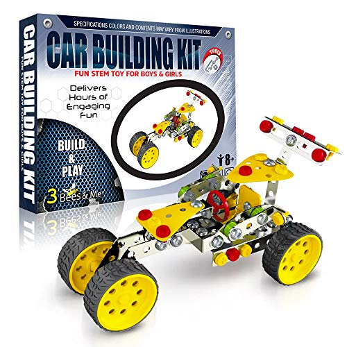 3 Bees & Me STEM Car Building Erector Toy Kit for Kids 8 to 11 Years - 6 & 7 Can Do with Help - Unique & Fun