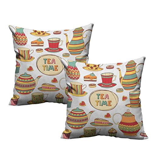 2 Piece Throw Pillow Covers Tea Time Cartoon Set with Donuts Cake Slices Cupcakes Breakfast Get Together 16'x16',Machine Washable