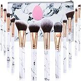 Makeup Brushes Set Gee-rgeous Professional 12Pcs Marble Make Up Brushes include Foundation Eyeshadow Eyebrow Brush Set with Make Up Sponge and Cosmetic Bag