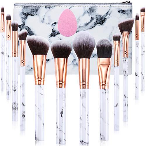 Lot de 12 pinceaux de maquillage professionnels en marbre avec fond de teint, fard à paupières, pinceau à sourcils, éponge et sac à cosmétiques
