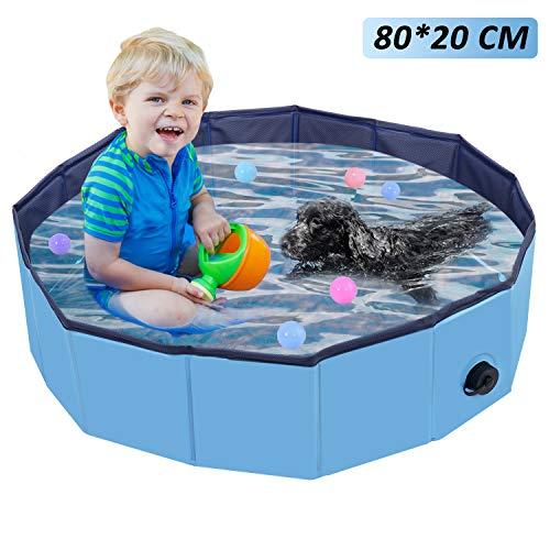 Oberhoffe Hunde Planschbecken,Doggy Pool Faltbarer Badewanne Pool,Haustier-Duschbecken mit,Hundeplanschbecken mit Ablassventil,Haustiere Badewanne,Umweltfreundlichem PVC rutschfest,(80x20CM)