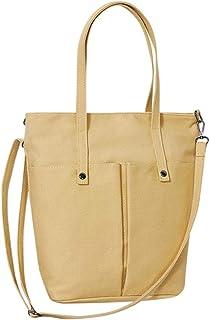 Wultia - Bags for Women 2019 Fashion Girls Canvas Solid Color Multi-Pocket Shoulder Bag Messenger Bag Bolsa Feminina Yellow