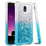Ruky Galaxy J7 2018 Case,Galaxy J7 Refine Case,Galaxy J7 Star Case,J7 Crown Case,Galaxy J7 V J7V 2nd Gen Case,J7 Aura Case, Glitter Flowing Liquid Phone Case for Samsung Galaxy J7 2018,Gradient Teal