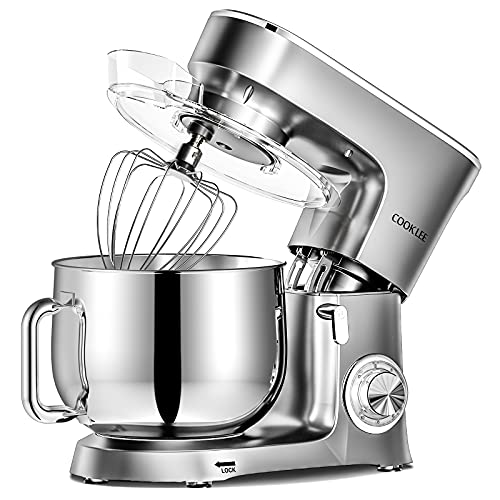 COOKLEE Stand Mixer, 9.5 Qt. 660W 10+1 Speeds Electric Kitchen Mixer with Dishwasher-Safe Dough Hooks, Flat Beaters, Wire Whip & Pouring Shield Attachments for Most Home Cooks, SM-1551, Silver