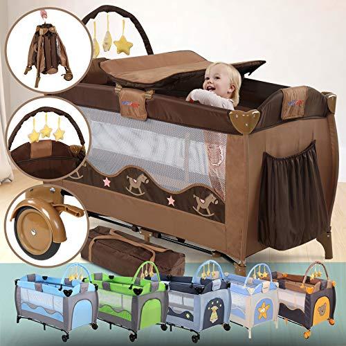 Cuna de viaje plegable con cambiador y moño, 126 x 66 cm, incl. Soporte y bolsa de transporte | Selección de colores | Cama de bebé, Cama plegable, Cama plegable bebé