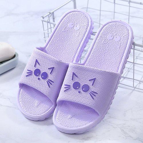 fankou Hausschuhe Hausschuhe Sommer Hause Schuhe rutschfeste weichen Boden Männer gestreiften kalten Bäder und Paare Hausschuhe weiblich, 35-36, G-Purple