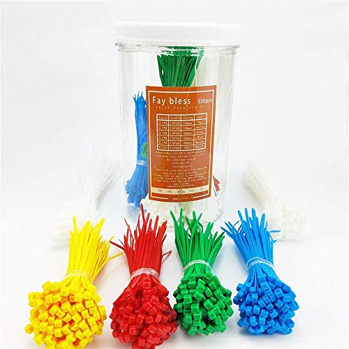 Fay Bless Cable Ties,Zip Ties Assorted Sizes 550 pcs 4 + 6 + 7 Inch Color Plastic Nylon Cord Wire Strap Wraps for Craft,Christmas Tree,Electrical,Fence,PC,Office,Garage and Workshop (550 PCS)