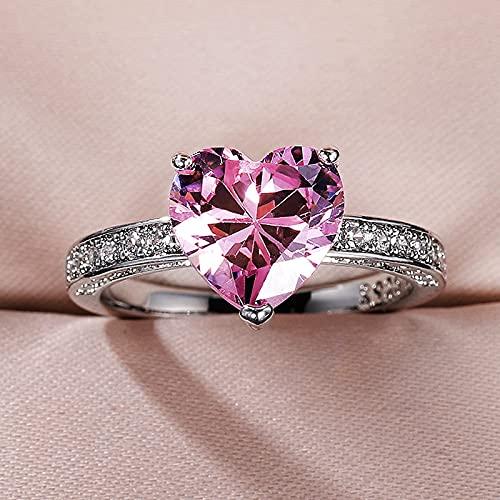 YANGYUE Anillo de Compromiso de Diamante Rosa de Laboratorio con Corte de corazón, Anillo de Compromiso de Plata de Ley 925, Anillos de Boda para Mujer, Regalo de joyería para Fiesta Nupcial