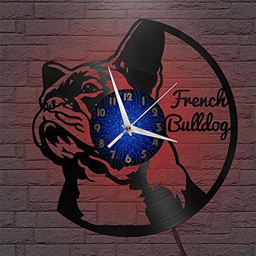 Tema bulldog francese Vinile Record Wall Clock, Orologio da parete per cucina Casa Soggiorno Camera da letto Idee scolastiche per ragazzi, ragazze, uomini, donne, adulti, lui e lei - Design unico