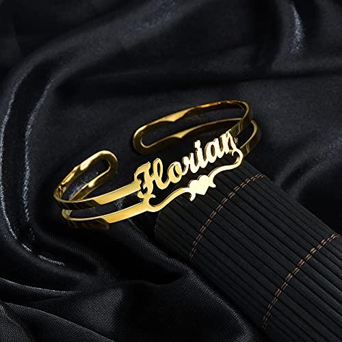 WLMT Pulsera Personalizada del Nombre de la Letra Personalized Personalized Brazaletes Mujeres Hombres Rose Gold Acero Inoxidable Crismas Joyería Regalo