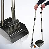[2020 Upgraded] Metal Pooper Scooper Easy Pick Up Dog Poop Rake & Scoop Set with 37.4' Long Handle No Bending Partable Yard Pet Poop Scooper Perfect for Small to Large Dogs (Rake & Scoop, Black)