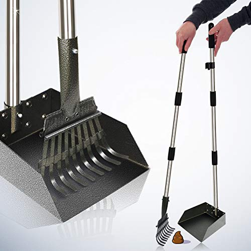 "[2020 Upgraded] Metal Pooper Scooper Easy Pick Up Dog Poop Rake & Scoop Set with 37.4"" Long Handle No Bending Partable Yard Pet Poop Scooper Perfect for Small to Large Dogs (Rake & Scoop, Black)"
