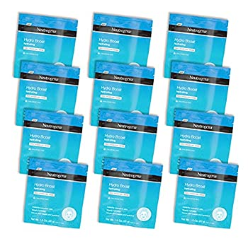 Neutrogena Hydro Boost Moisturizing & Hydrating 100% Hydrogel Sheet Face Mask for Dry Skin with Hyaluronic Acid Gentle & Non-Comedogenic 12 Count