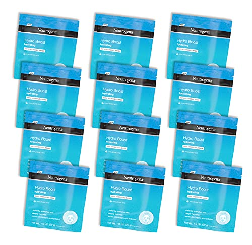 Neutrogena Hydro Boost Moisturizing & Hydrating 100% Hydrogel Sheet Face Mask for Dry Skin with Hyaluronic Acid, Gentle & Non-Comedogenic, 12 Count
