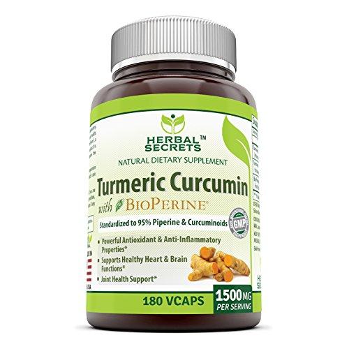 Herbal Secrets Turmeric Curcumin with Bioperine Dietary Supplement 1500 Mg per Serving, 180 Veggie Capsules (Non-GMO) - Supports Healthy Heart & Brain Function, Antioxidant & Anti-Inflammatory*
