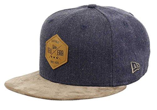 New Era Hexagon Patch Heather Indigo Brown Suede 59fifty Cap 7 5/8-61cm (XL)