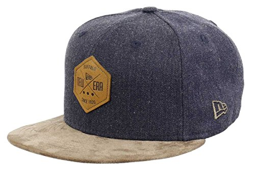 New Era 59fifty Basecap Hexagon Patch Heather Indigo/Brown Suede - 7 3/8-59cm