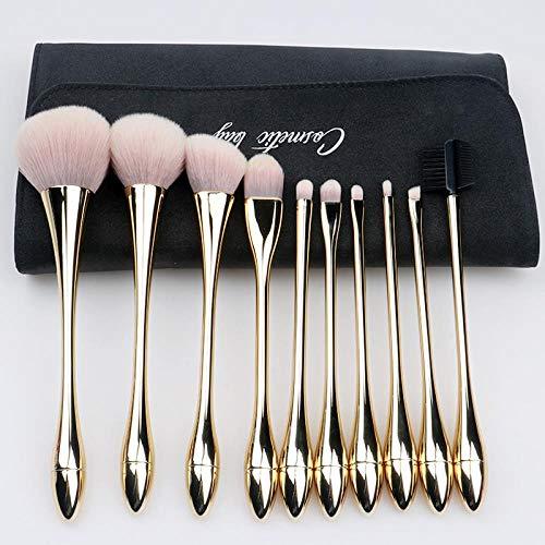 Ensemble De Pinceaux De Maquillage Pinceau Net Ins Rouge Outil Blush Sac De Tube De Stockage Portable, Or 10