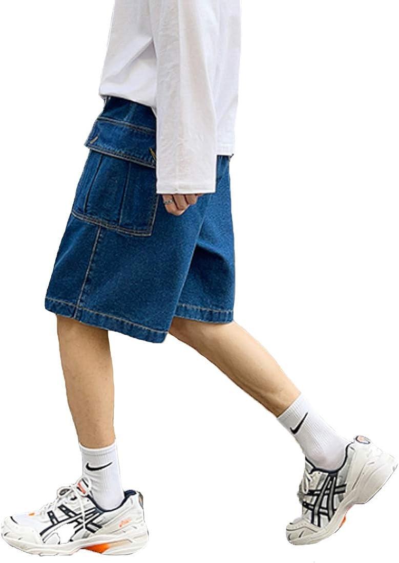 HZCX FASHION Mens Straight Wide Leg Denim Cargo Shorts Elastic Waist Short Jeans