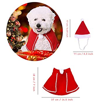 QIMMU Costume Noël pour Chat Chien, Noël Vêtements pour Chien Chat Animaux Très Joli Petit Bonnet de Noel avec Echarpe, Noeud Papillon, Cloche 3 Pièces
