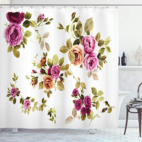 "Ambesonne Watercolor Flower Shower Curtain, Vintage Branch of Rose Blossoming Classic Floral Design Print, Cloth Fabric Bathroom Decor Set with Hooks, 70"" Long, Fuchsia Amber"