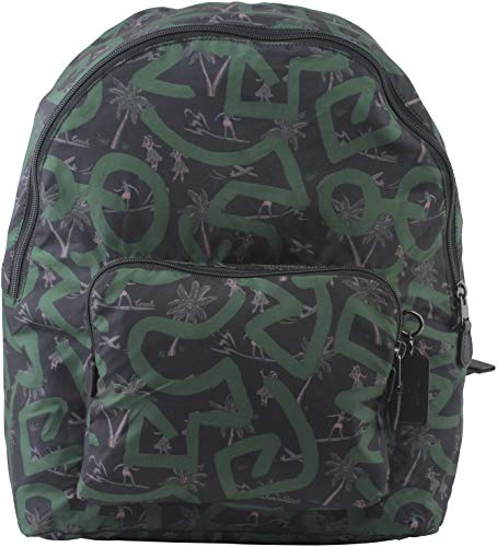 Coach Herren Rucksack Keith Haring Black Hula Dance Print Packable in Dark Green Style F67409