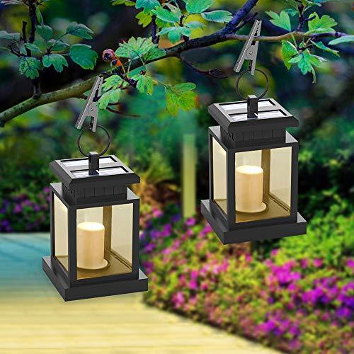 Solar Laterne, Hängend LED Solarlaterne mit Kerze Flickering, Solarlampe für Außen Gartendeko Solar Gartenlaterne in Kerzenoptik 2-er Pack