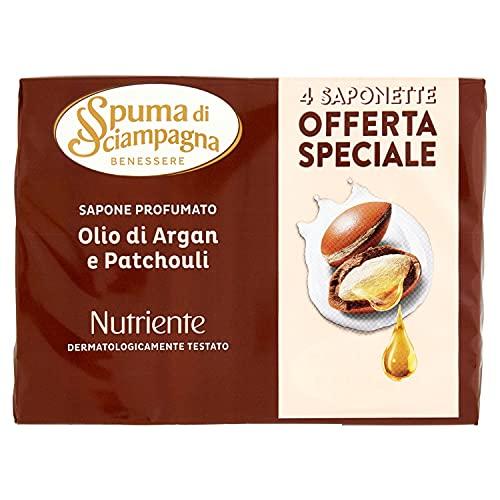 Spuma di Sciampagna Saponetta Nutriente Argan E Patchouli 4 Pezzi - 90 Gr