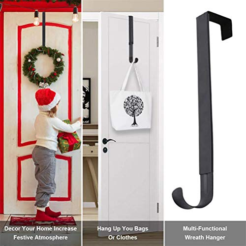 Phayee roestvrijstalen kerstkrans kledinghanger, voorturquoise houder, metalen krans haak deurhaak voor de deur instelbaar van 14,9-25 inch grote deur krans kledinghanger