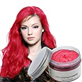 Jakuva Unisex Hair Color Dye Wax Styling Cream Mud, Natural Hairstyle Pomade, Temporary Hair Dye Wax for Party, Cosplay & Halloween, 4.23 OZ, Red